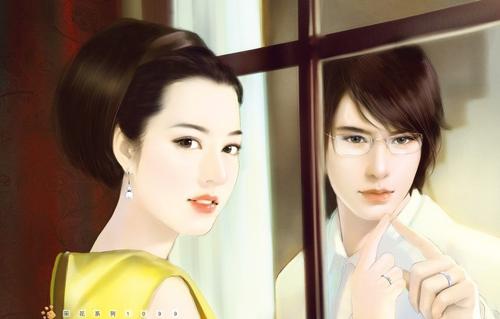 现代手绘情侣图片_窗里窗外的爱恋