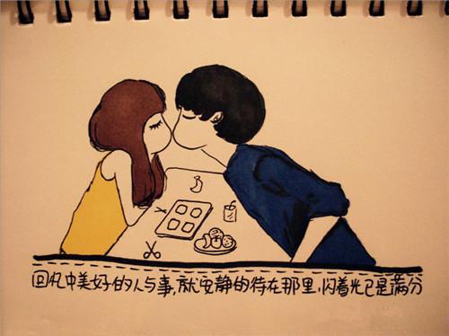手绘情侣接吻图片