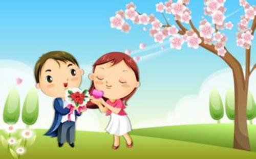 动漫桃花树背景素材高清