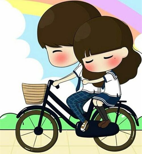 幸福的卡通情侣