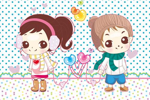 可爱卡通情侣图片_乖萌甜美的小可爱